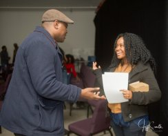 Raeshelle Cooke and a filmmaker at the focus group