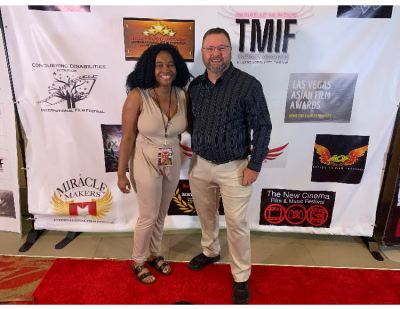 Raeshelle Cooke with Warren Matson at the AOF International Film Festival