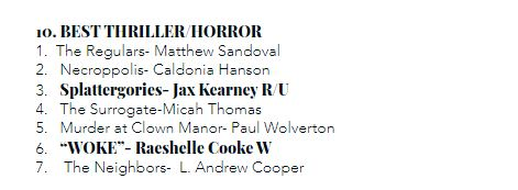 """""""Woke"""" wins Best Thriller in the Writer's Awards at AOF (2021)"""